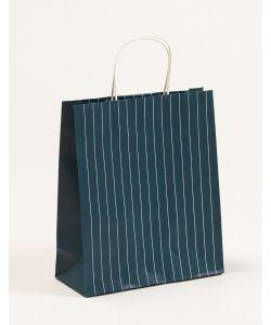 Papiertragetaschen mit Nadelstreifen petrol 26 x 11 x 30 + 5 cm, 200 Stück