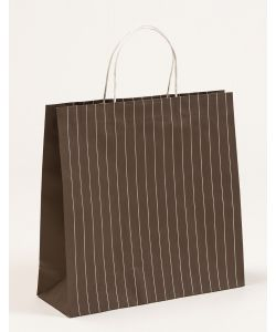 Papiertragetaschen mit Nadelstreifen graubraun 38 x 13 x 37 + 6 cm, 150 Stück