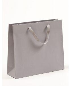 Papiertragetaschen mit Baumwollbändern grau 42 x 13 x 37 + 6 cm, 100 Stück