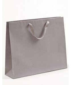 Papiertragetaschen mit Baumwollbändern grau 54 x 14 x 44,5 + 6 cm, 75 Stück