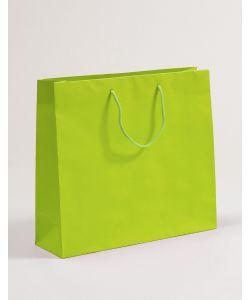 Papiertragetaschen mit Baumwollkordeln grün 54 x 14 x 44 + 5 cm, 025 Stück