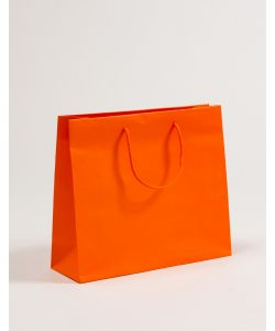 Papiertragetaschen mit Baumwollkordeln orange 36 x 12 x 31 + 5 cm, 100 Stück