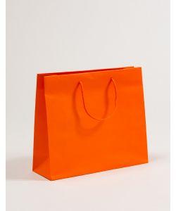 Papiertragetaschen mit Baumwollkordeln orange 36 x 12 x 31 + 5 cm, 025 Stück