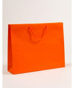Papiertragetaschen mit Baumwollkordeln orange 54 x 14 x 44 + 5 cm, 010 Stück