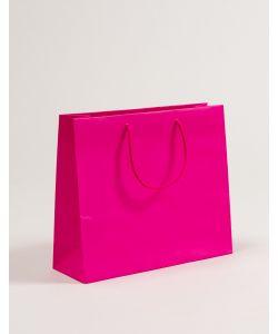 Papiertragetaschen mit Baumwollkordeln pink 36 x 12 x 31 + 5 cm, 100 Stück