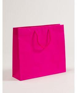 Papiertragetaschen mit Baumwollkordeln pink 40 x 12 x 36 + 5 cm, 100 Stück