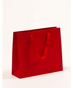 Papiertragetaschen mit Baumwollbändern rot 32 x 10 x 27,5 + 5 cm, 200 Stück