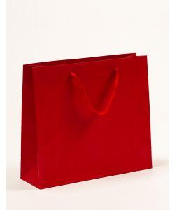 Papiertragetaschen mit Baumwollbändern rot 42 x 13 x 37 + 6 cm, 100 Stück