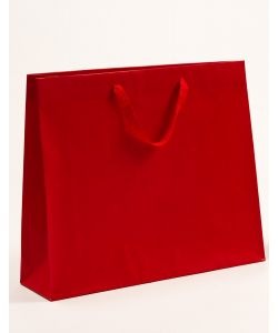 Papiertragetaschen mit Baumwollbändern rot 54 x 14 x 44,5 + 6 cm, 75 Stück