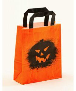 Papiertragetaschen mit Flachhenkel Halloween Kürbis 18 x 8 x 22 cm, 100 Stück