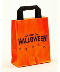 Papiertragetaschen mit Flachhenkel Happy Halloween 18 x 8 x 22 cm, 200 Stück