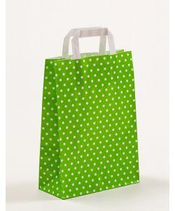 Papiertragetaschen mit Flachhenkel Punkte grün 22 x 10 x 31 cm, 100 Stück