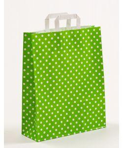 Papiertragetaschen mit Flachhenkel Punkte grün 32 x 12 x 40 cm, 050 Stück