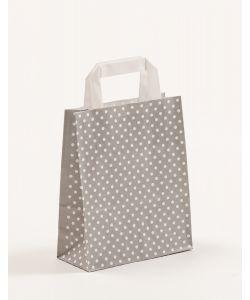 Papiertragetaschen mit Flachhenkel Punkte grau 18 x 8 x 22 cm, 025 Stück