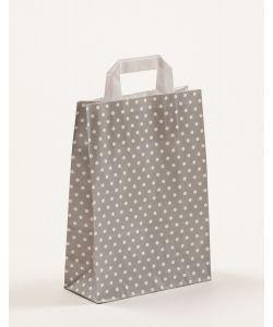 Papiertragetaschen mit Flachhenkel Punkte grau 22 x 10 x 31 cm, 025 Stück