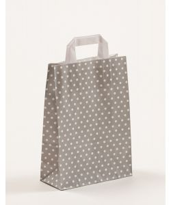 Papiertragetaschen mit Flachhenkel Punkte grau 22 x 10 x 31 cm, 050 Stück