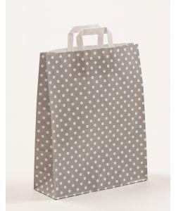 Papiertragetaschen mit Flachhenkel Punkte grau 32 x 12 x 40 cm, 100 Stück