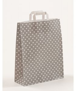 Papiertragetaschen mit Flachhenkel Punkte grau 32 x 12 x 40 cm, 200 Stück