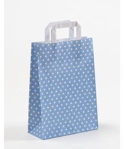 Papiertragetaschen mit Flachhenkel Punkte blau/hellblau 22 x 10 x 31 cm, 100 Stück