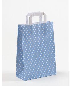 Papiertragetaschen mit Flachhenkel Punkte blau/hellblau 22 x 10 x 31 cm, 150 Stück