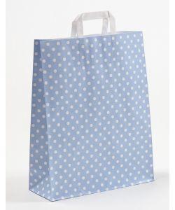 Papiertragetaschen mit Flachhenkel Punkte blau 32 x 12 x 40 cm, 025 Stück
