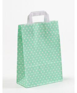Papiertragetaschen mit Flachhenkel Punkte mint 22 x 10 x 31 cm, 200 Stück