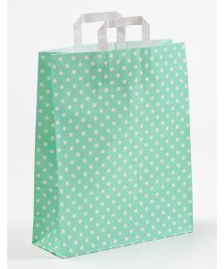Papiertragetaschen mit Flachhenkel Punkte mint 32 x 12 x 40 cm, 025 Stück