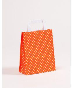 Papiertragetaschen mit Flachhenkel Punkte orange 18 x 8 x 22 cm, 150 Stück