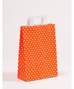 Papiertragetaschen mit Flachhenkel Punkte orange 22 x 10 x 31 cm, 150 Stück