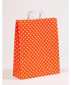Papiertragetaschen mit Flachhenkel Punkte orange 32 x 12 x 40 cm, 150 Stück