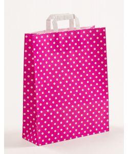 Papiertragetaschen mit Flachhenkel Punkte pink 32 x 12 x 40 cm, 050 Stück