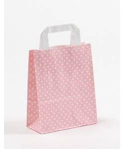 Papiertragetaschen mit Flachhenkel Punkte rosa 18 x 8 x 22 cm, 250 Stück
