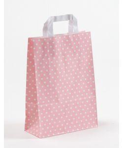 Papiertragetaschen mit Flachhenkel Punkte rosa 22 x 10 x 31 cm, 150 Stück