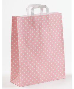 Papiertragetaschen mit Flachhenkel Punkte rosa 32 x 12 x 40 cm, 100 Stück
