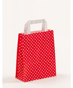 Papiertragetaschen mit Flachhenkel Punkte rot 18 x 8 x 22 cm, 250 Stück