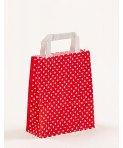 Papiertragetaschen mit Flachhenkel Punkte rot 18 x 8 x 22 cm, 050 Stück