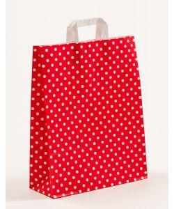 Papiertragetaschen mit Flachhenkel Punkte rot 32 x 12 x 40 cm, 025 Stück