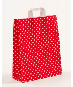 Papiertragetaschen mit Flachhenkel Punkte rot 32 x 12 x 40 cm, 100 Stück