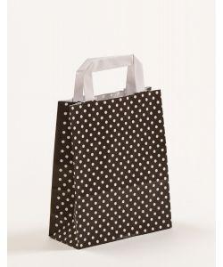Papiertragetaschen mit Flachhenkel Punkte schwarz 18 x 8 x 22 cm, 100 Stück