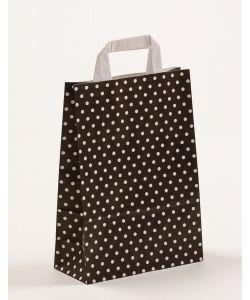 Papiertragetaschen mit Flachhenkel Punkte schwarz 22 x 10 x 31 cm, 100 Stück