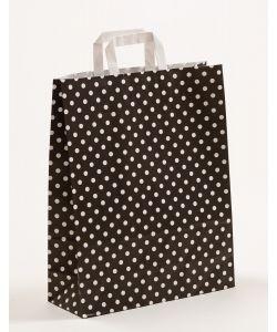 Papiertragetaschen mit Flachhenkel Punkte schwarz 32 x 12 x 40 cm, 150 Stück