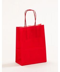 Papiertragetaschen mit gedrehter Papierkordel rot 15 x 8 x 20 cm, 025 Stück