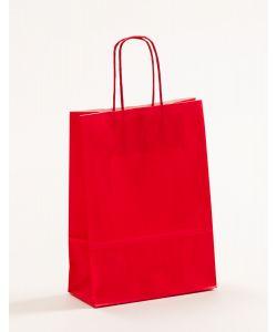 Papiertragetaschen mit gedrehter Papierkordel rot 18 x 8 x 25 cm, 100 Stück