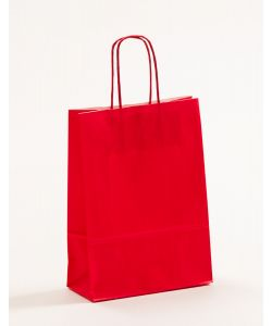 Papiertragetaschen mit gedrehter Papierkordel rot 18 x 8 x 25 cm, 200 Stück