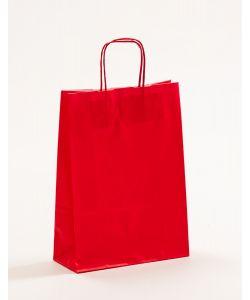 Papiertragetaschen mit gedrehter Papierkordel rot 23 x 10 x 32 cm, 100 Stück