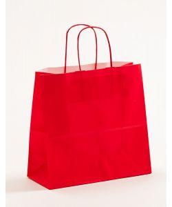 Papiertragetaschen mit gedrehter Papierkordel rot 25 x 11 x 24 cm, 025 Stück