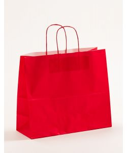 Papiertragetaschen mit gedrehter Papierkordel rot 32 x 13 x 28 cm, 025 Stück