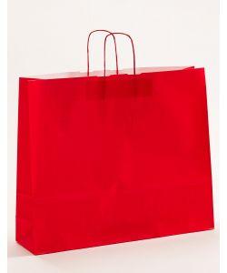 Papiertragetaschen mit gedrehter Papierkordel rot 54 x 14 x 45 cm, 100 Stück