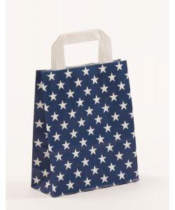 Papiertragetaschen mit Flachhenkel Sterne blau 18 x 8 x 22 cm, 050 Stück