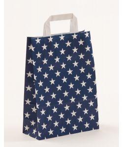 Papiertragetaschen mit Flachhenkel Sterne blau 22 x 10 x 31 cm, 150 Stück
